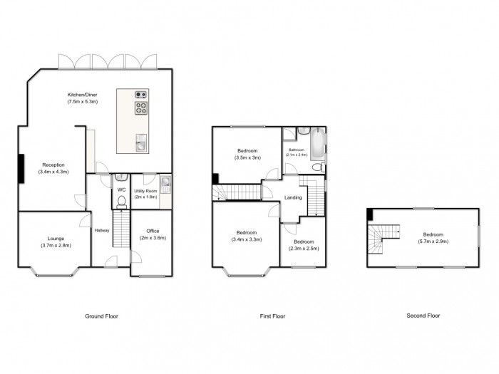 Floorplans For Tamworth Avenue, Whitefield, Manchester, M45 6UA